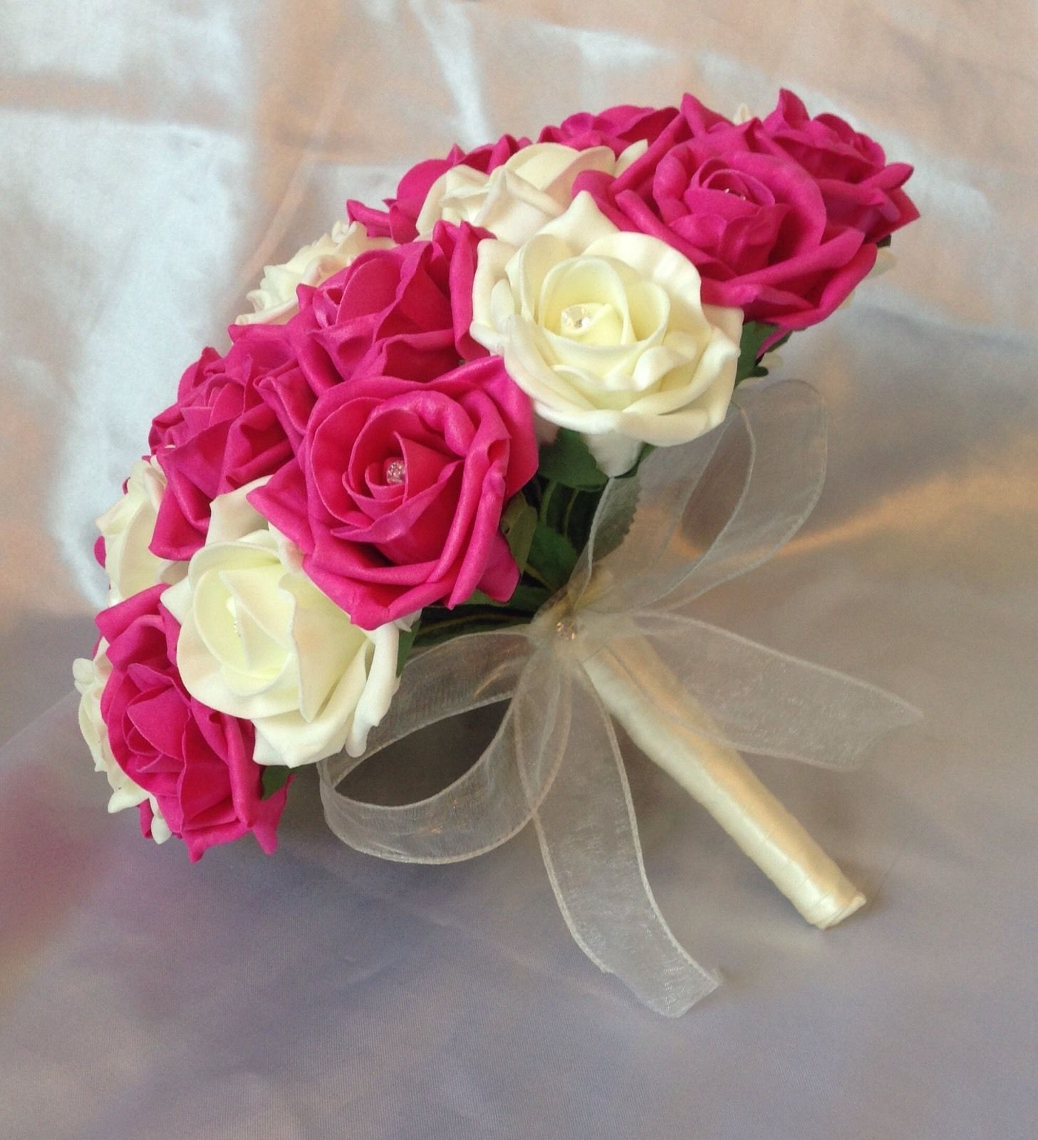 Dark Pink Wedding Flowers: ARTIFICIAL FLOWERS HOT PINK IVORY FOAM ROSE BRIDE WEDDING