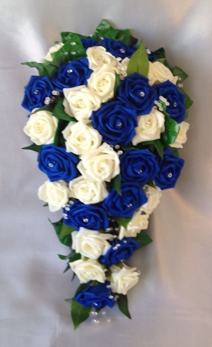 Artificial Flowers Ivory Royal Blue Rose Bride Wedding