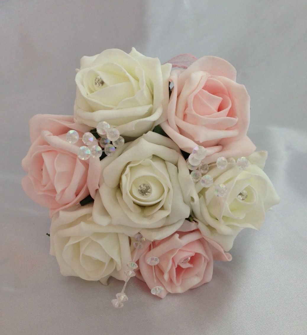 ARTIFICIAL WEDDING FLOWERS PINK IVORY FLOWER GIRL BRIDESMAID BOUQUET ...