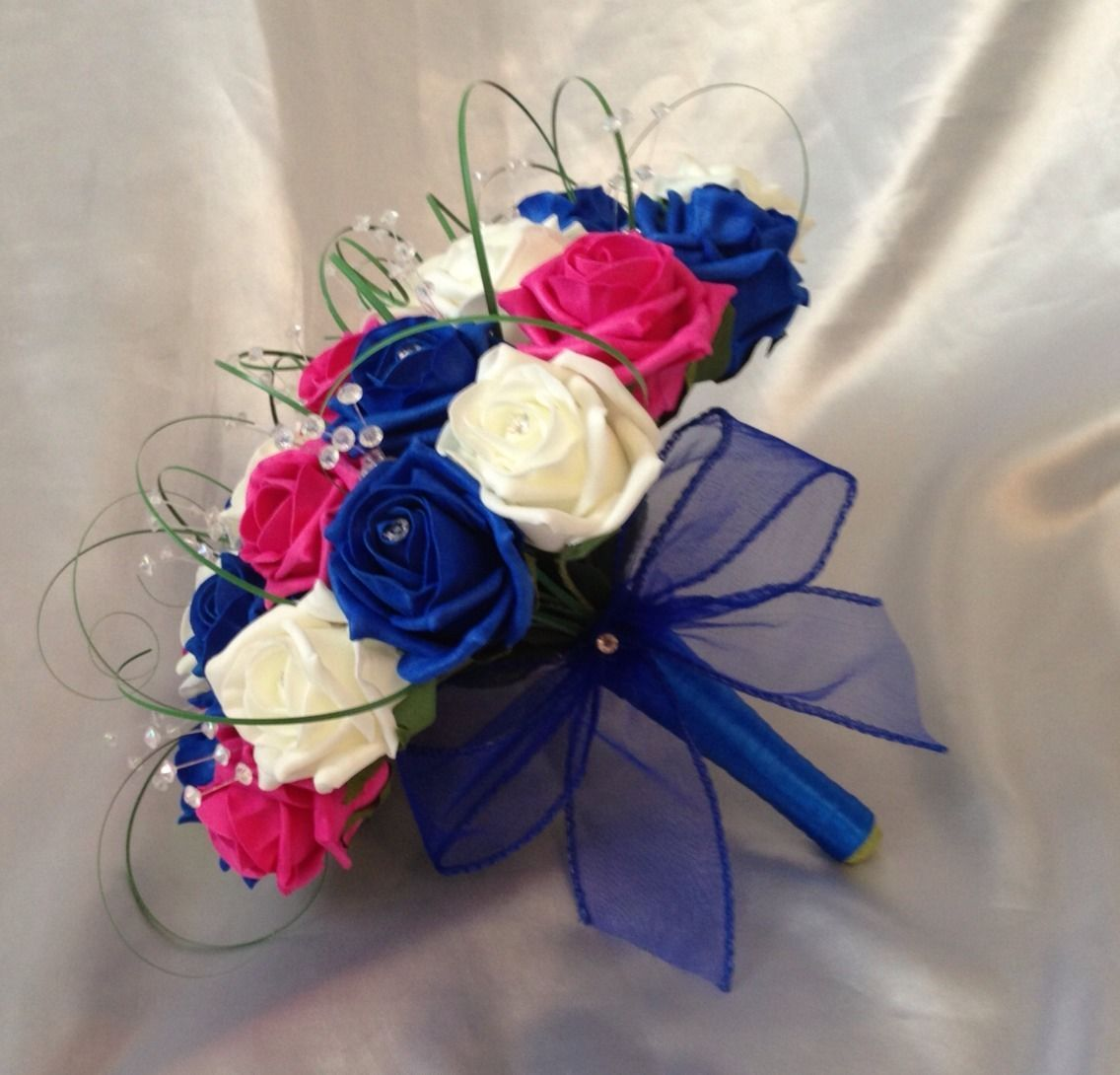 Royal Blue And Fuschia Pink Wedding Cake