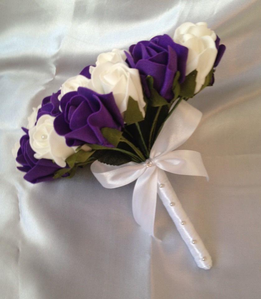 wedding package artificial flowers purple white foam rose brides bouquet. Black Bedroom Furniture Sets. Home Design Ideas