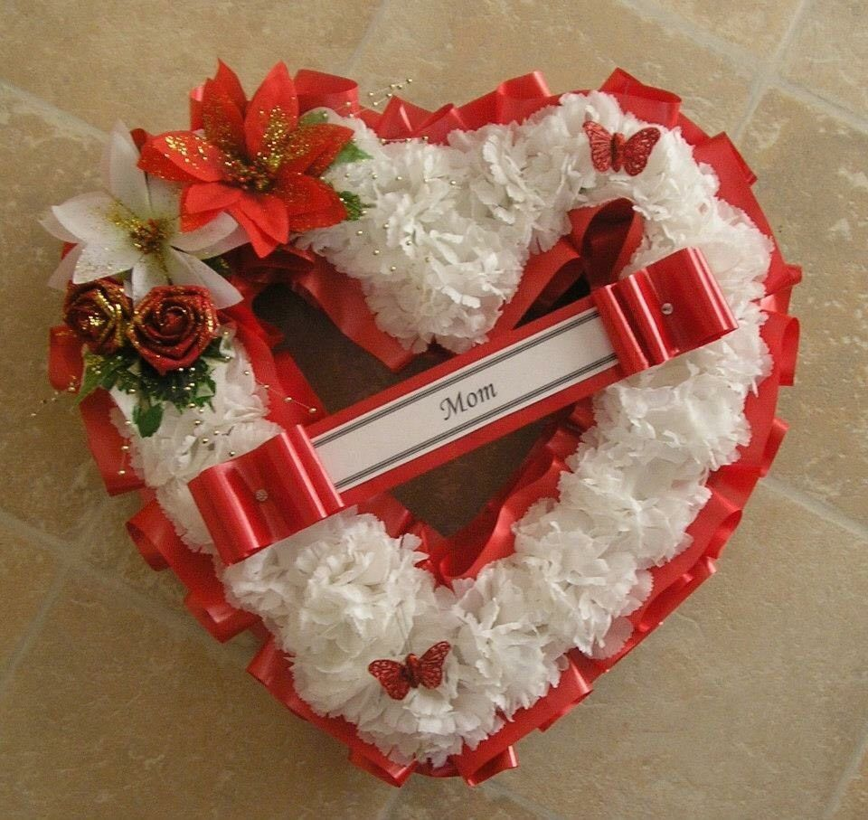 Artificial Christmas Wreath Flowers Heart Memorial Grave Roses Red