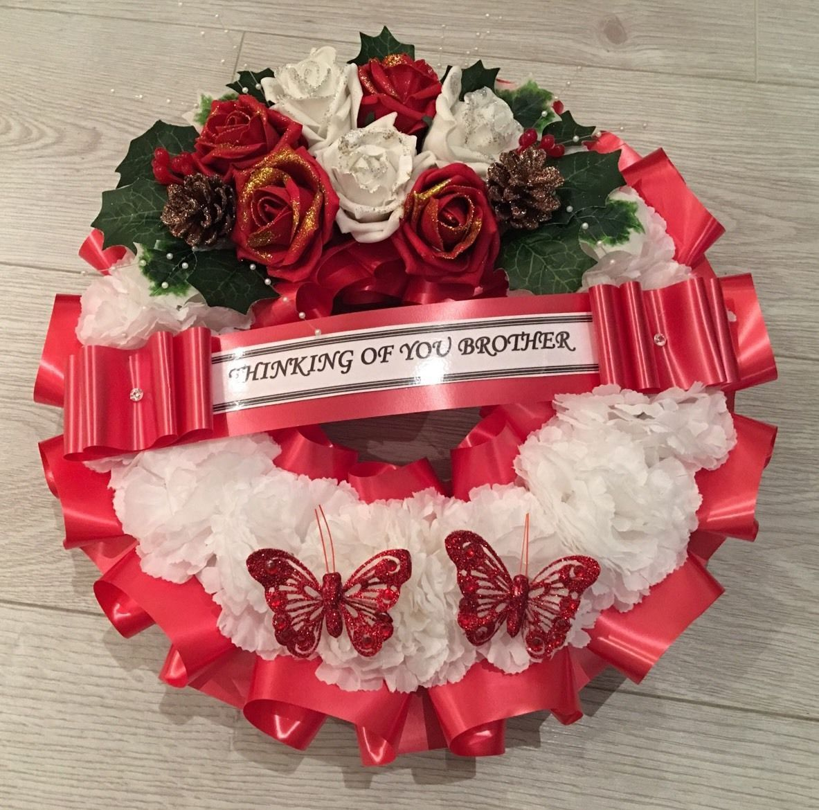 Artificial Christmas Wreath Flowers Ring Memorial Grave