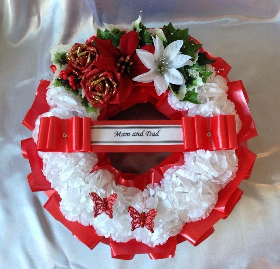 Artificial Christmas Wreath Flowers Ring Memorial Grave Roses Red White