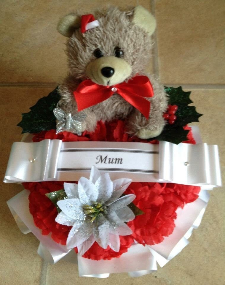Artificial Christmas Wreath Ring Flowers Memorial Grave