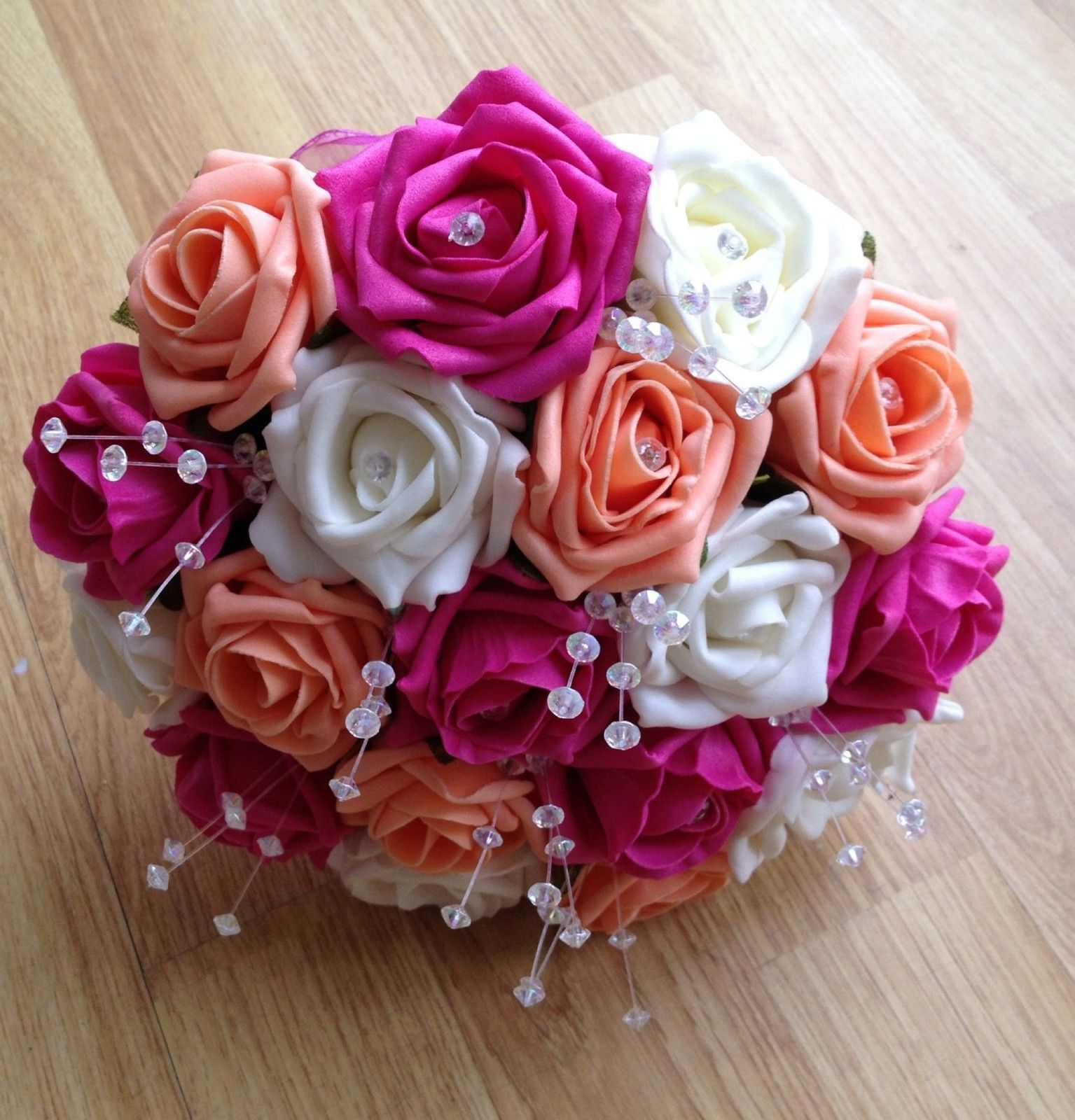 Artificial flowers ivory hot pink apricot foam rose wedding artificial flowers ivory hot pink apricot foam rose wedding bridesmaid bouquet izmirmasajfo