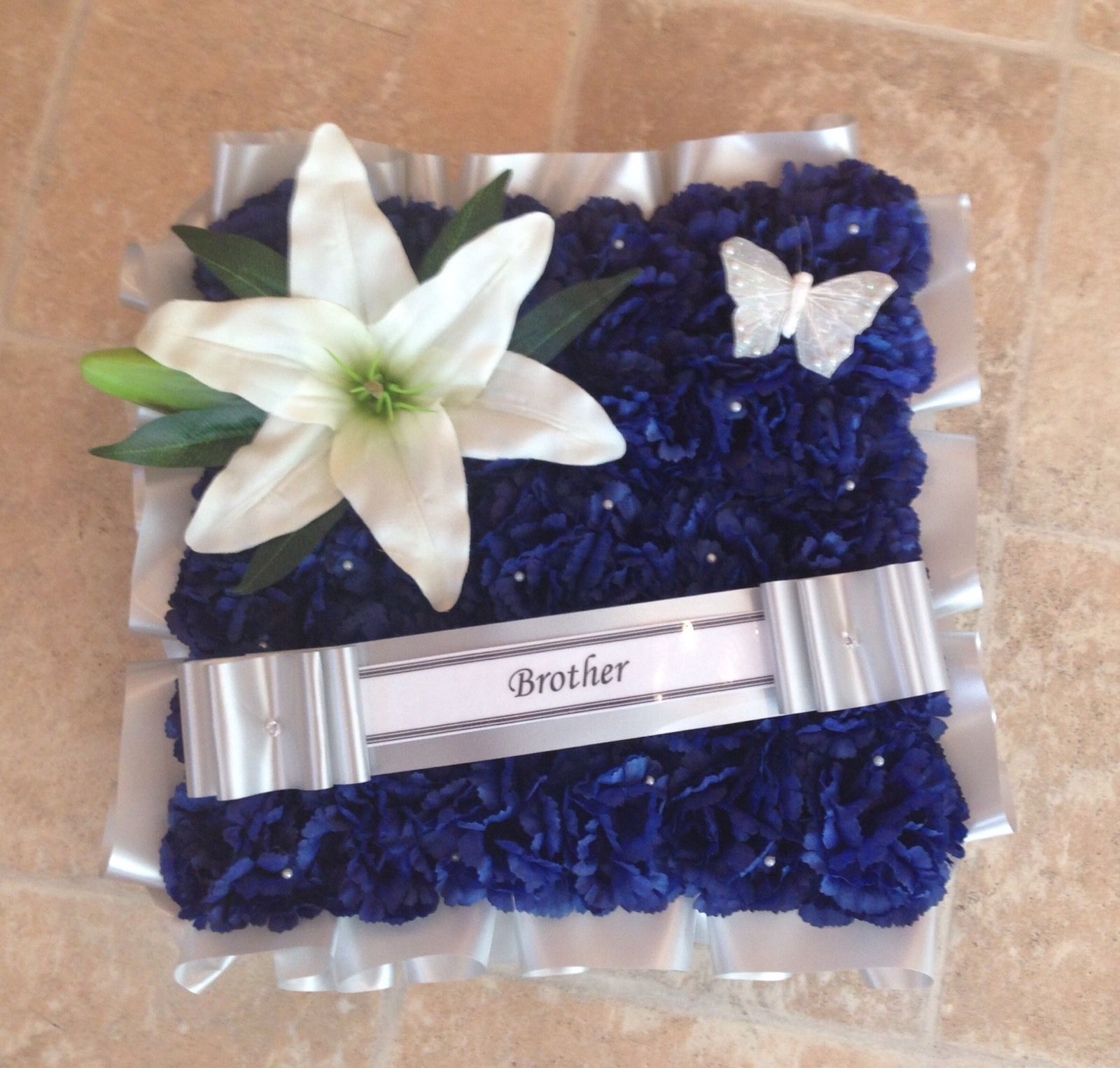 Artificial Flowers Silk Cushion Wreath Blue Lily Memorial Grave Funeral