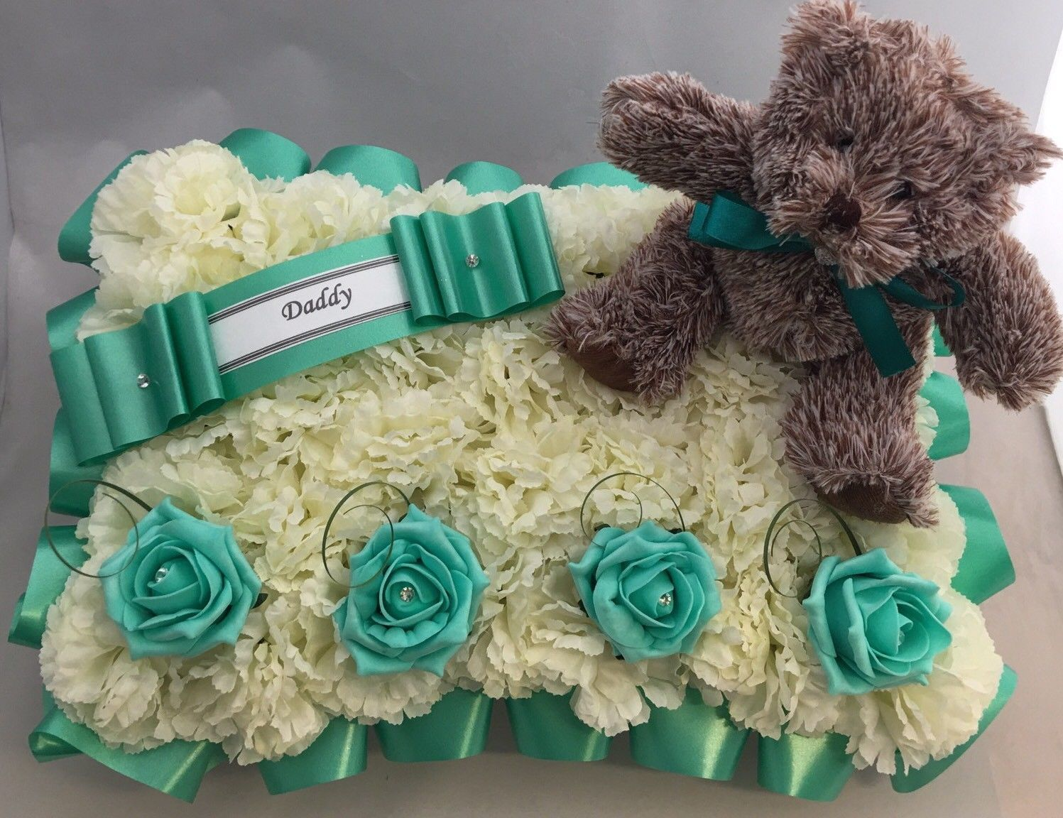 Artificial Funeral Flowers Silk Wreath Memorial Grave Baby Teddy