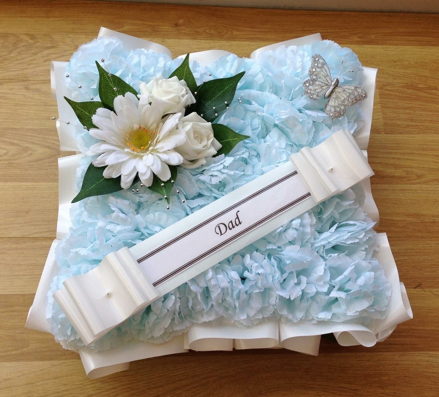 Artificial Funeral Flowers Silk Wreath Memorial Grave Funeral White