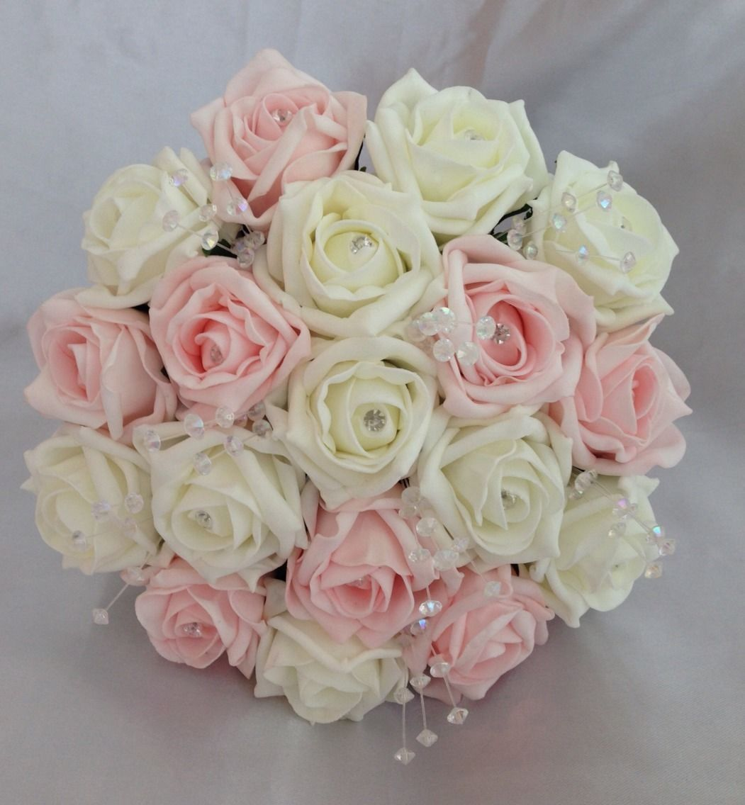 Artificial Pink Ivory Foam Rose Wedding