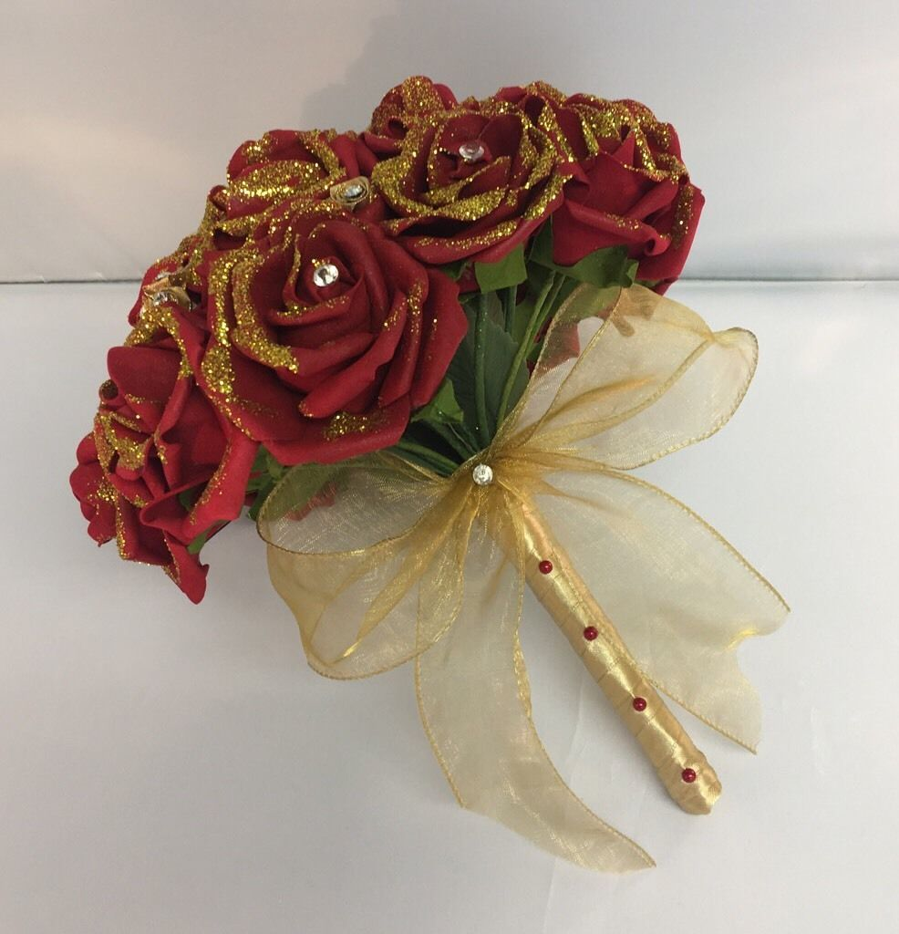 artificial-wedding-flowers-deep-red-gold -foam-rose-bridesmaid-bouquet-glitter-1035-p.jpg