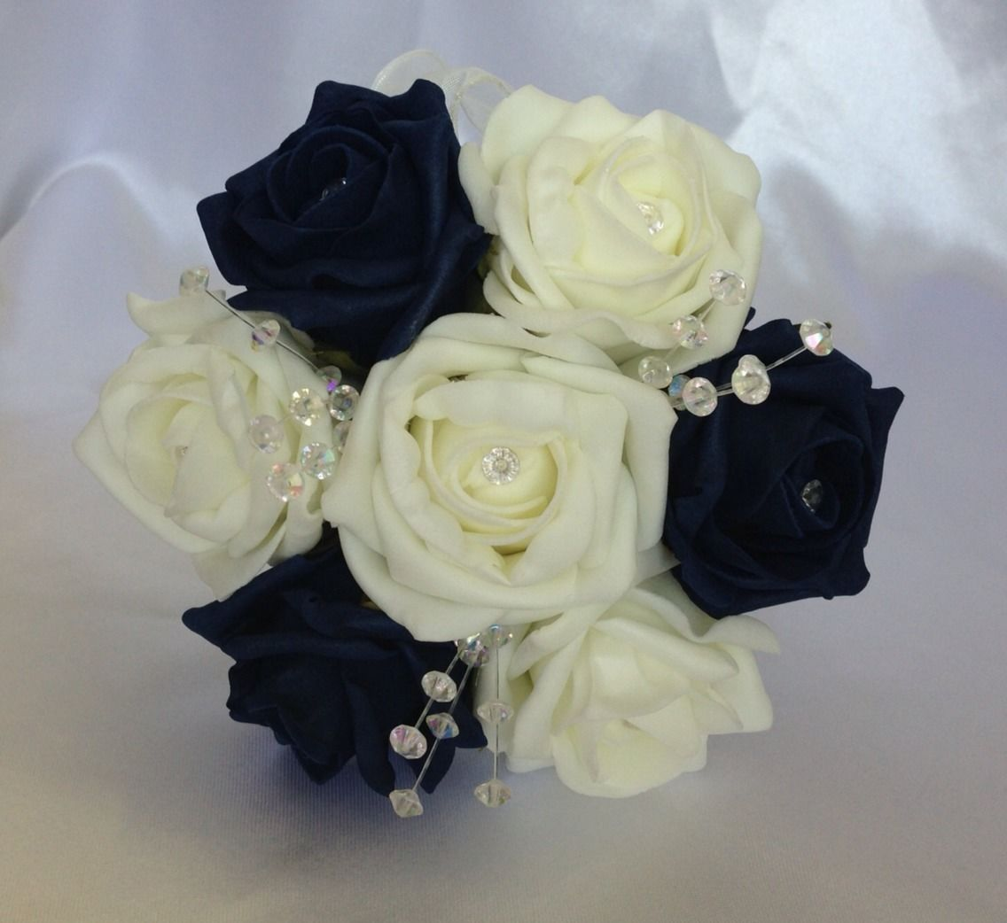 Artificial wedding flowers ivory navy blue flower girl bouquet foam artificial wedding flowers ivory navy blue flower girl bouquet foam roses izmirmasajfo