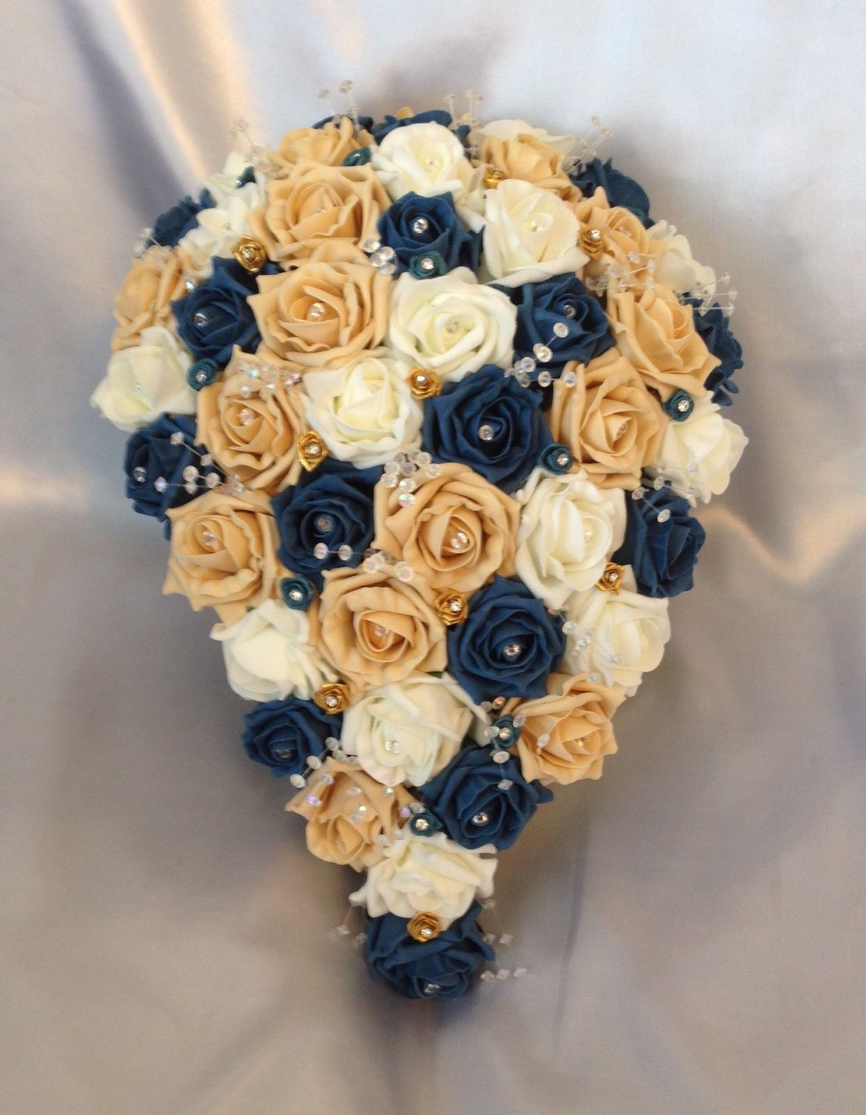 HANDTIED BRIDAL POSY WEDDING BOUQUET PEARLS AND DIAMANTE TEAL AND IVORY
