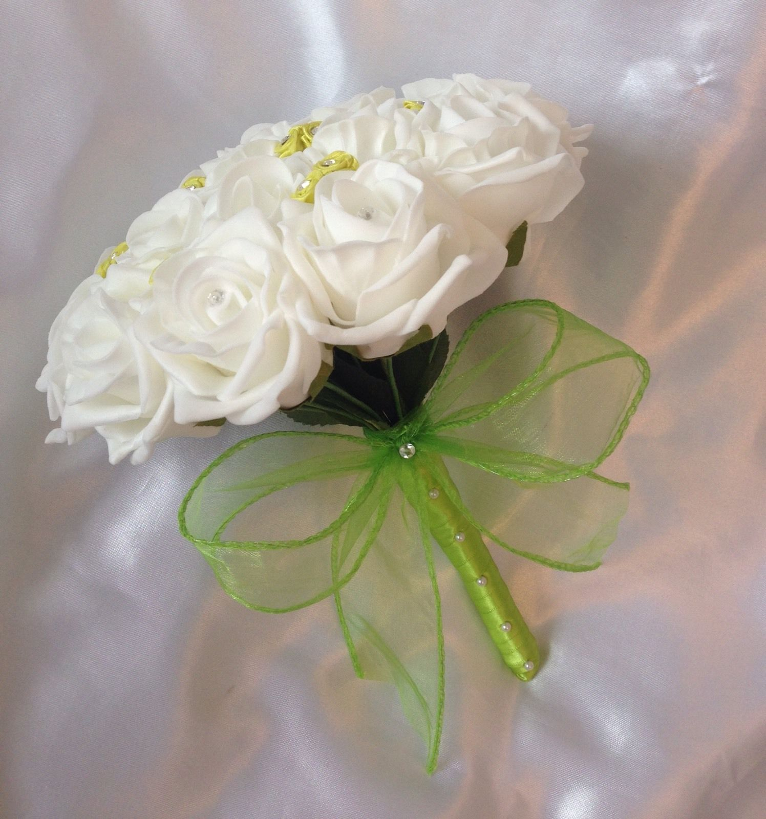 Artificial Wedding Flowers Lime Green White Foam Rose Wedding