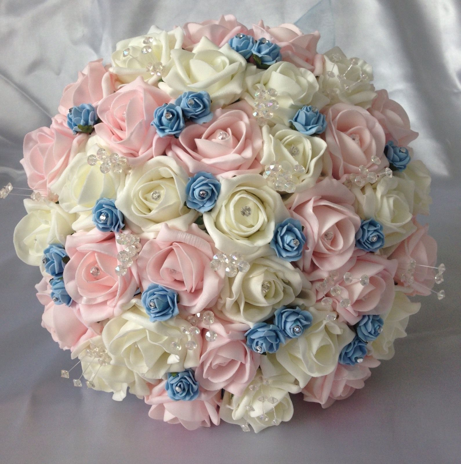 Artificial wedding flowers pink ivory blue rose brides wedding artificial wedding flowers pink ivory blue rose brides wedding crystal bouquet mightylinksfo