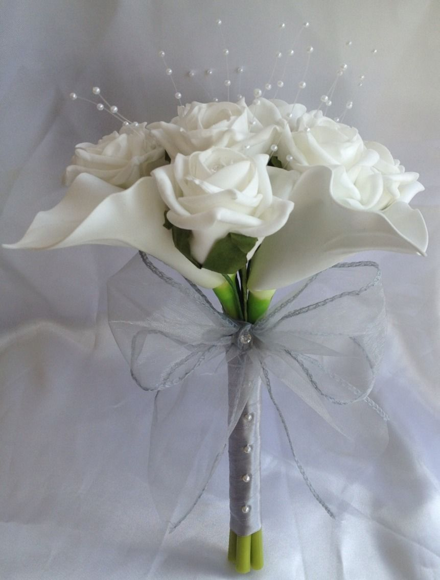 Artificial White Calla Lily Rose Wedding Flowers Bridesmaid Bouquet