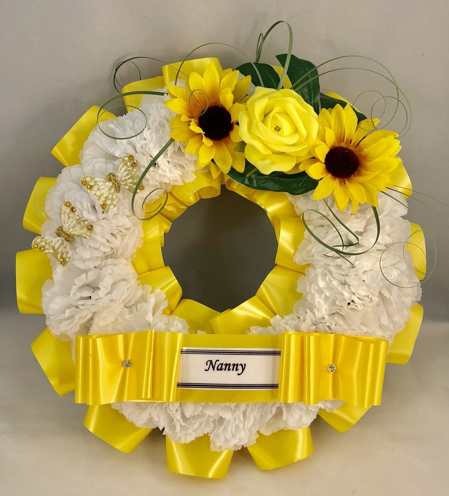 Artificial Yellow Flower Ring Wreath Memorial Tribute Funeral Grave