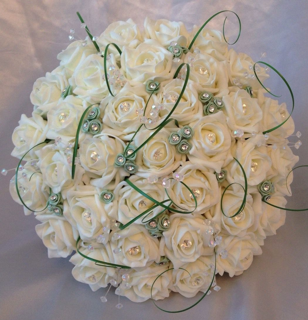 BRIDES WEDDING ARTIFICIAL BOUQUET MINT SAGE GREEN IVORY ROSE CRYSTAL ...