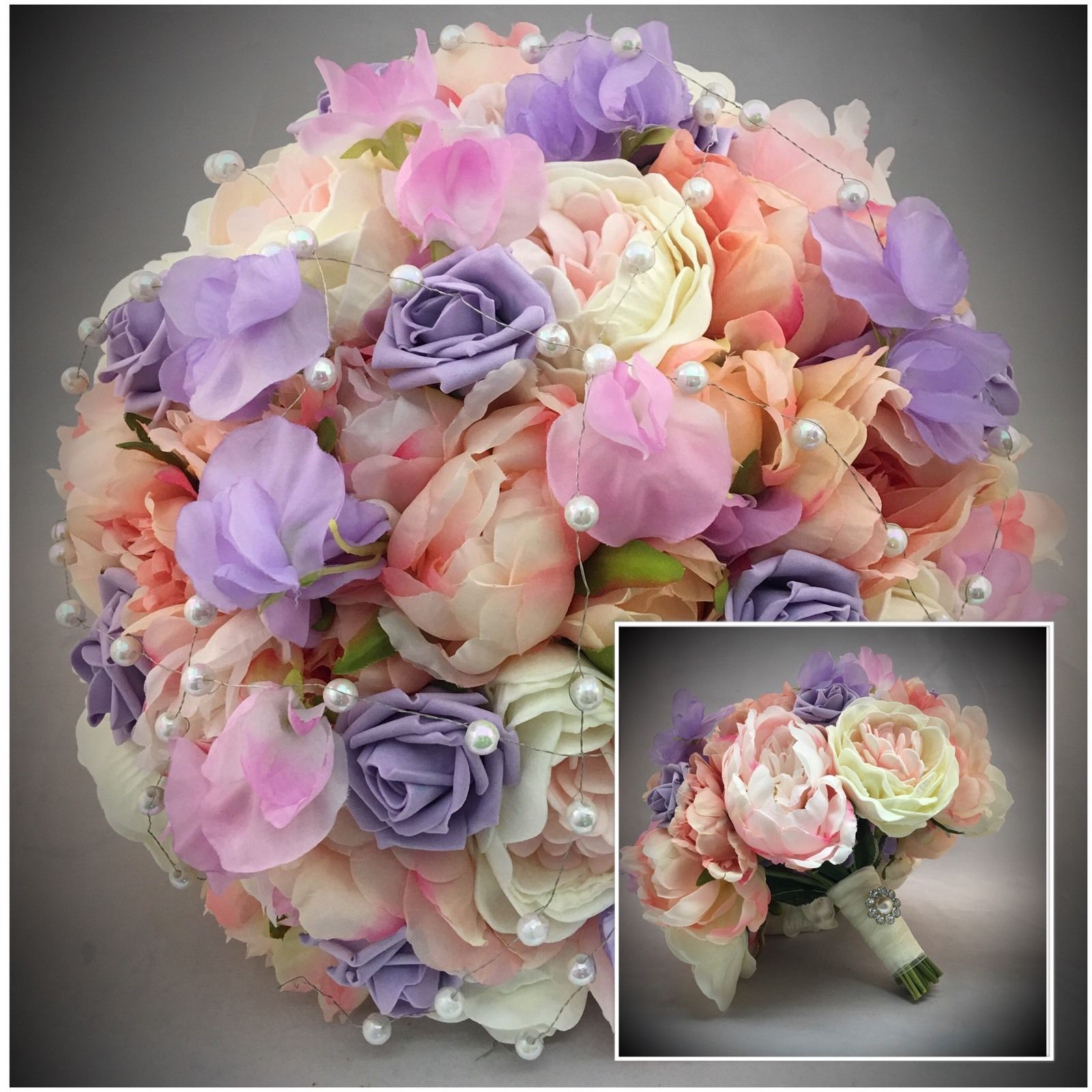 Peonies Sweet Pea Vintage Bouquet Bride Brooch Pearls Wedding