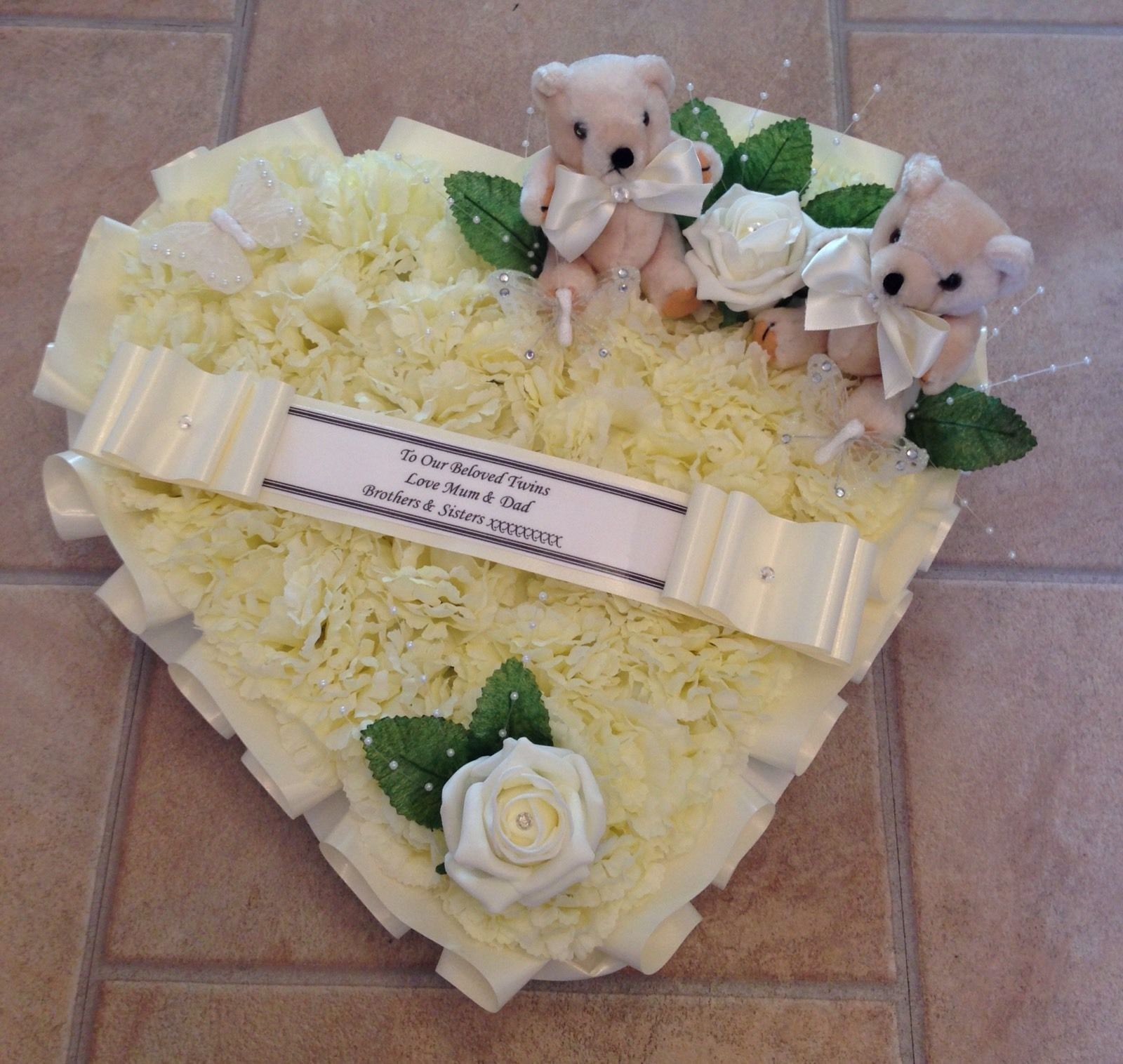 Silk funeral flowers heart wreath memorial tribute ivory neutral silk funeral flowers heart wreath memorial tribute ivory neutral teddy butterfly izmirmasajfo