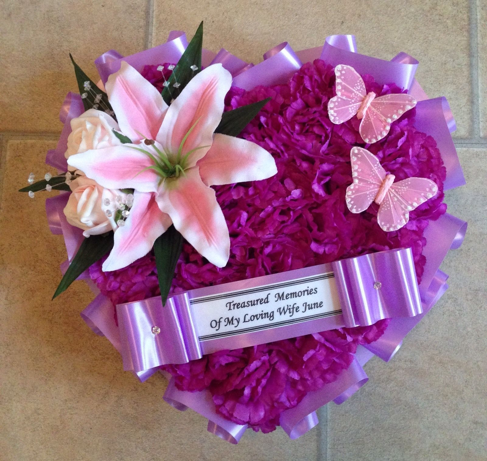 Silk Funeral Flowers Heart Wreath Memorial Tribute Pink Lilac Purple