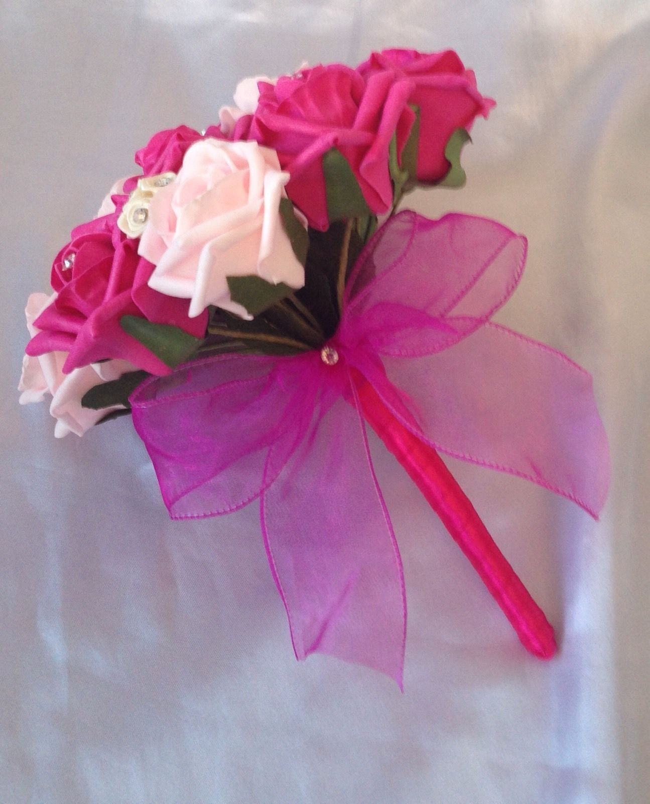 WEDDING FLOWERS ARTIFICIAL PINK IVORY HOT PINK FOAM ROSE BRIDESMAID ...