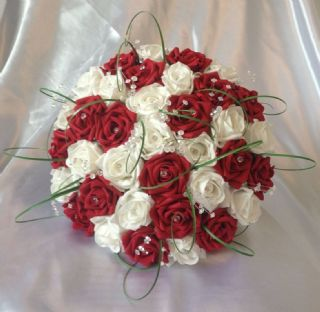WEDDING FLOWERS ARTIFICIAL WHITE//RUBY RED FOAM ROSE BRIDE WEDDING BOUQUET *NEW