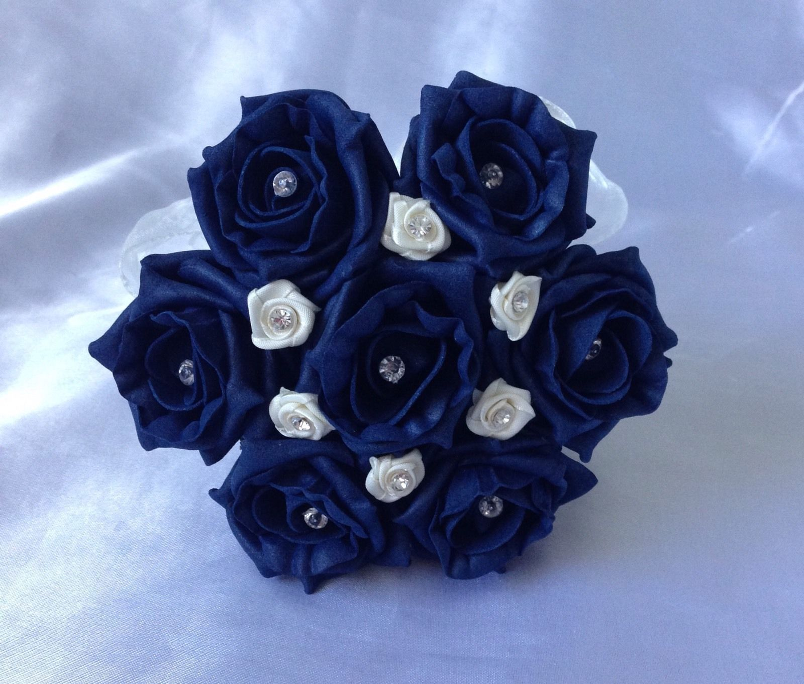 wedding flowers ivory navy blue rose flower girl bouquet wand posie
