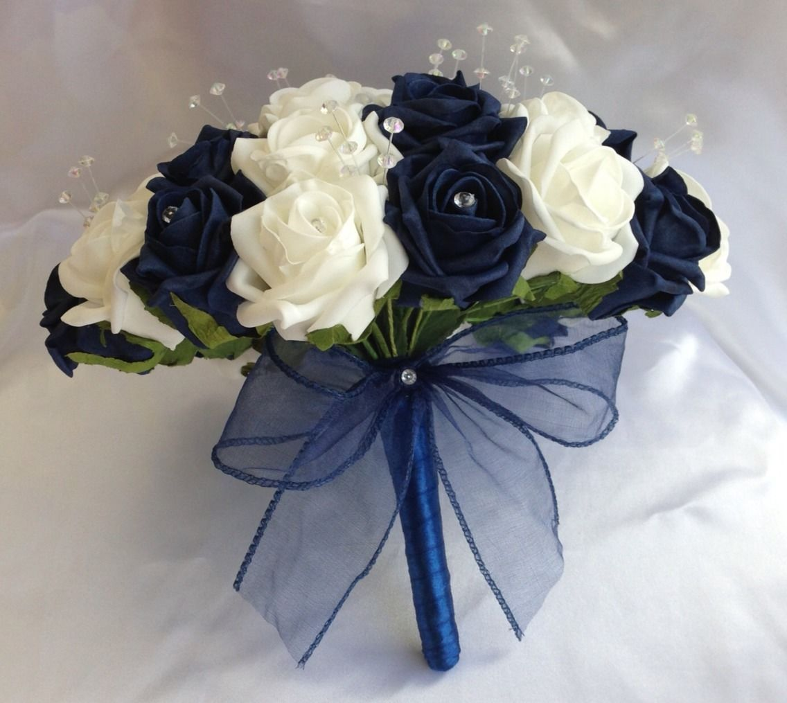 Blue And White Flowers For Weddings: WEDDING FLOWERS NAVY BLUE WHITE FOAM ROSE BRIDE BOUQUET