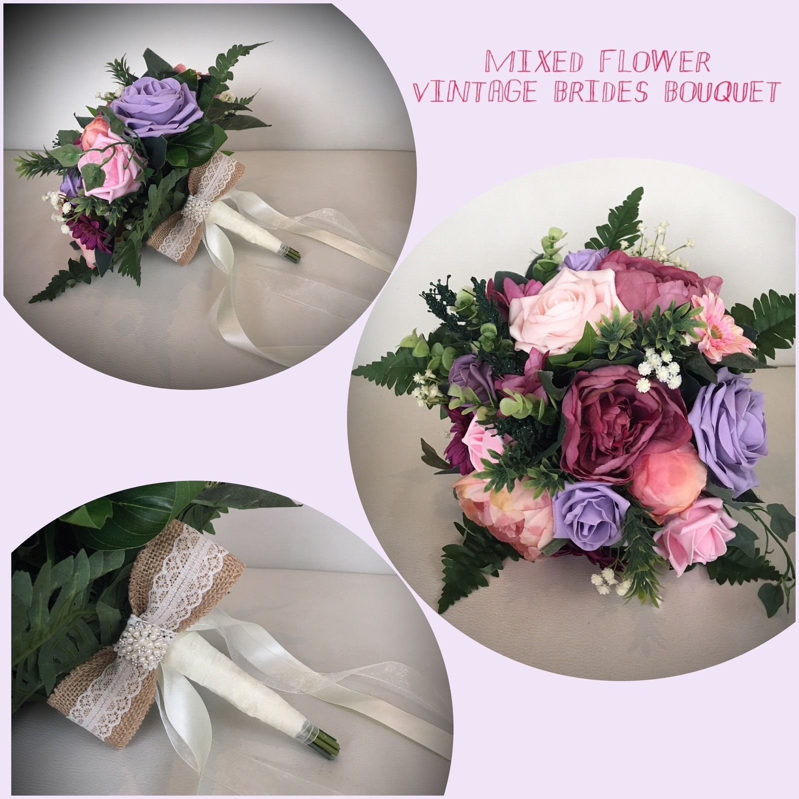 Wedding Flowers Pink Lilac Silk Foam Bride Bouquet Vintage Country