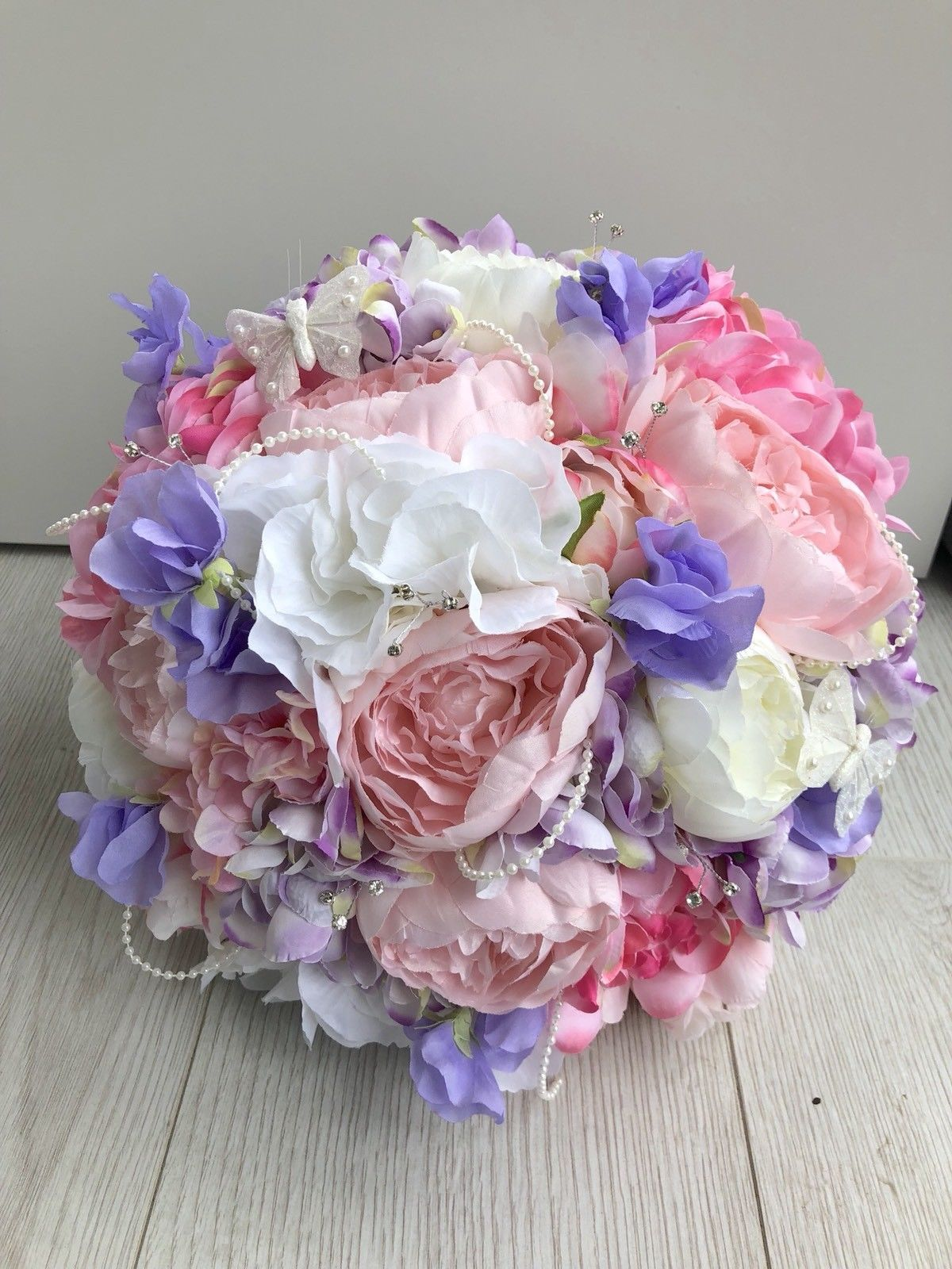 Wedding Flowers Pink Lilac White Silk Bride Bouquet Peony Hydrangea