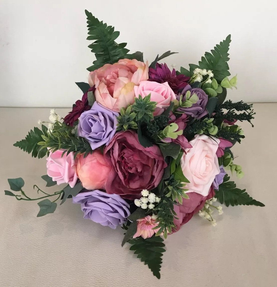 Wedding Mixed Flower Pink Lilac Bride Bouquet Vintage Country Rose