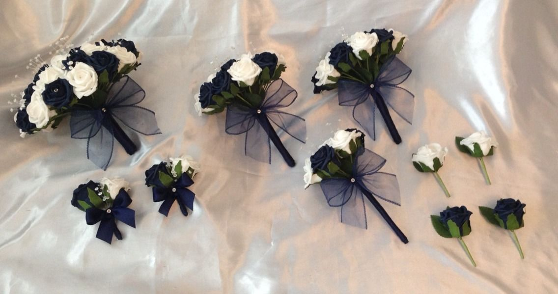 Wedding Package Artificial Flowers Foam Rose Bouquets Navy Blue White Bride