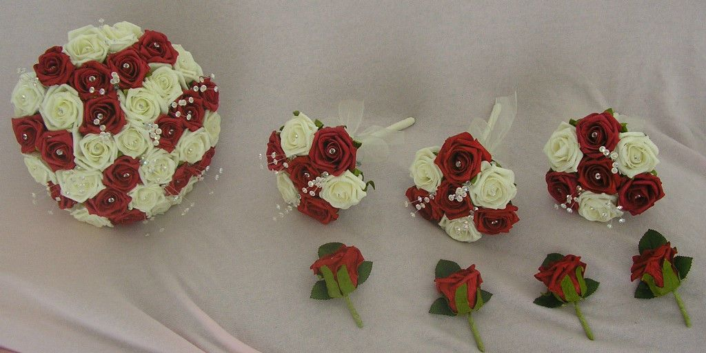 Wedding Package Artificial Flowers Foam Rose Wedding Bouquets Red