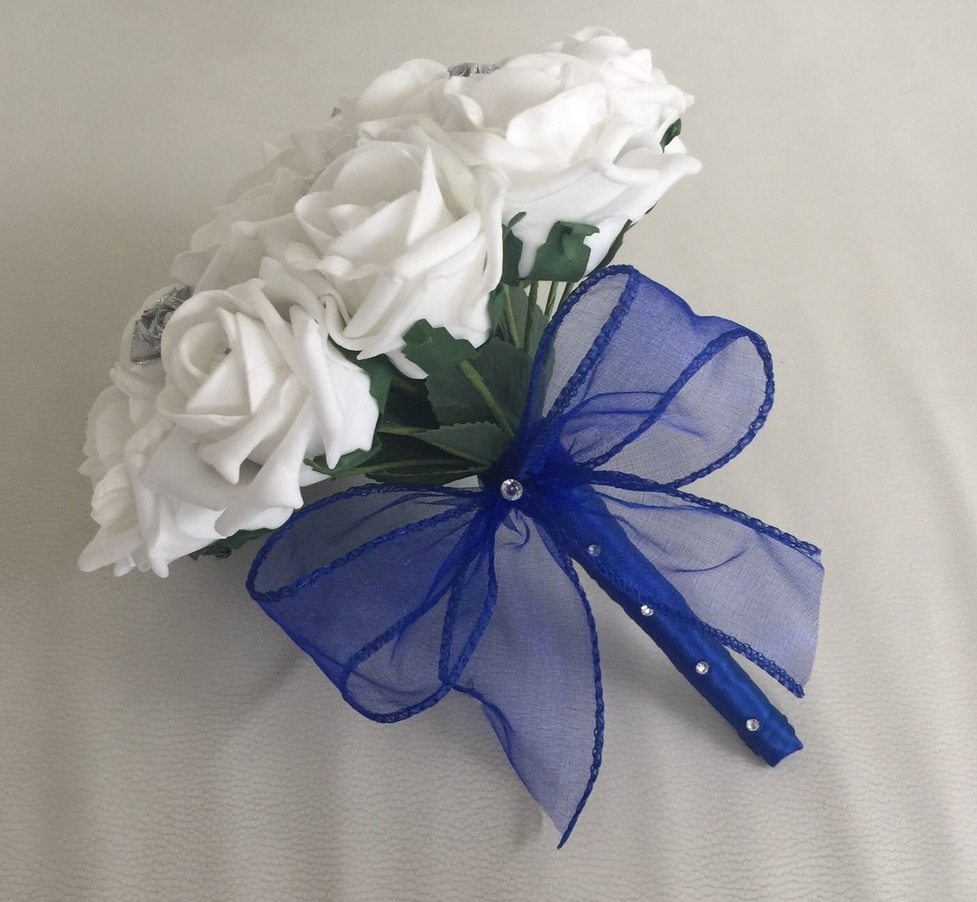 WHITE ROYAL BLUE SILVER FOAM ROSE WEDDING FLOWERS BOUQUET BRIDESMAID ...